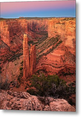 Metal Print featuring the photograph Spider Rock Sunset by Alan Vance Ley
