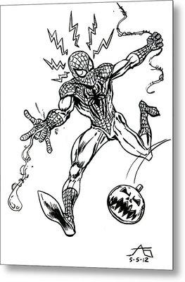 Spidey Dodges A Pumpkin Bomb Metal Print by John Ashton Golden