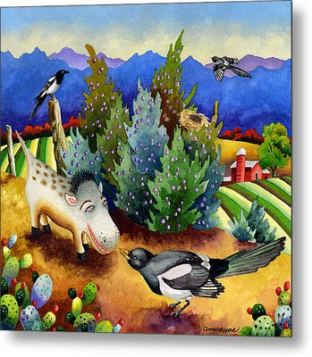 Spike The Dhog Meets A Magpie Metal Print by Anne Gifford