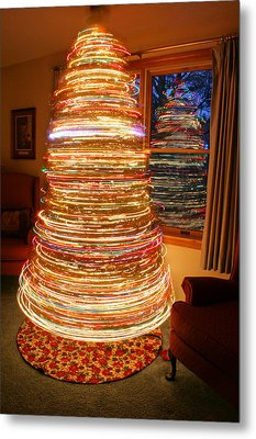 Spinning Christmas Tree Metal Print by Barbara West