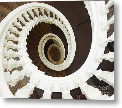 Metal Print featuring the photograph Spiral Stairs From Above by Michael Edwards