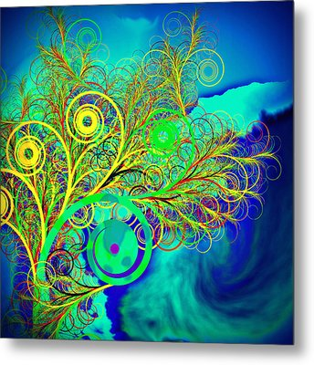 Spiral Tree With Blue Background Metal Print by GuoJun Pan