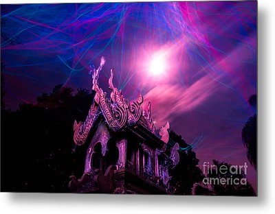 Spirit House In The Supermoon Light Painted Metal Print