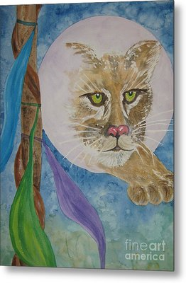 Metal Print featuring the painting Spirit Of The Mountain Lion by Ellen Levinson