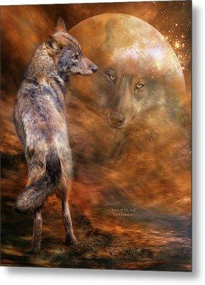 Spirit Of The Wolf Metal Print by Carol Cavalaris
