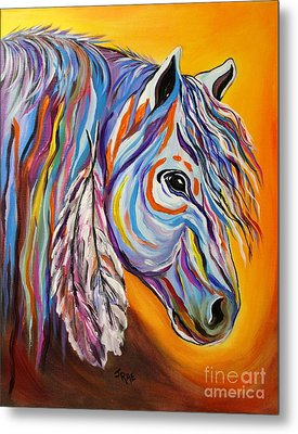 Metal Print featuring the painting 'spirit' War Horse by Janice Rae Pariza