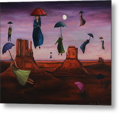 Spirits Of The Flying Umbrellas Metal Print by Leah Saulnier The Painting Maniac