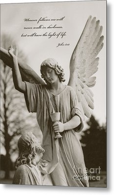 Spiritual Religious Angel Art With Jesus  Metal Print by Kathy Fornal
