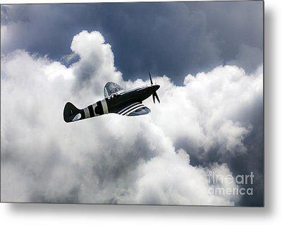 Spitfire Cloudy Skies  Metal Print by J Biggadike