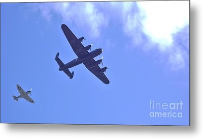Metal Print featuring the photograph Spitfire  Lancaster Bomber by John Williams