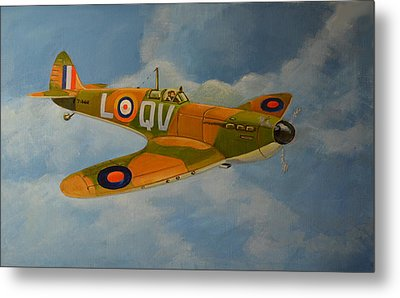 Metal Print featuring the painting Spitfire Mk1a by Murray McLeod