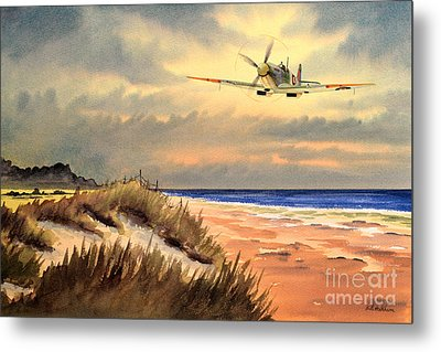Spitfire Mk9 - Over South Coast England Metal Print by Bill Holkham