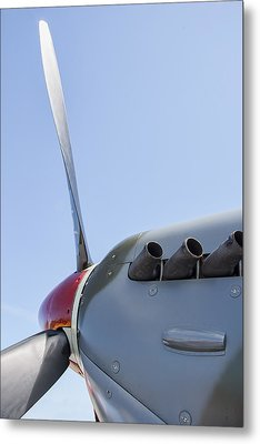 Spitfire Propeller And Exhaust Metal Print by Daniel Hagerman