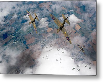 Raf Spitfires Swoop On Heinkels In Battle Of Britain Metal Print by Gary Eason