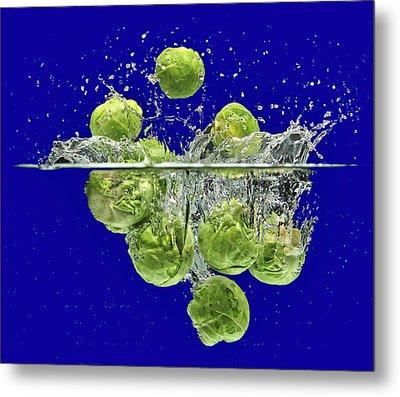 Splash-brussels Sprouts Metal Print