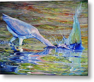 Metal Print featuring the painting Splash Fishing by AnnaJo Vahle