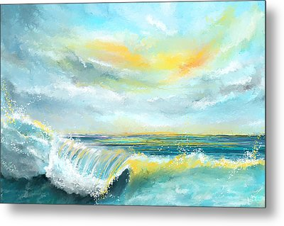 Splash Of Sun - Seascapes Sunset Abstract Painting Metal Print