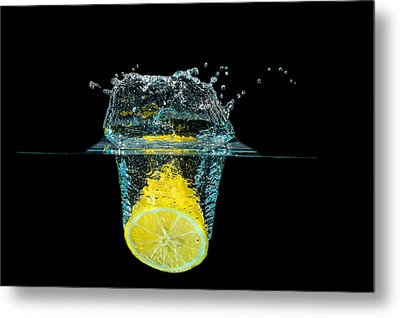 Splashing Lemon Metal Print by Peter Lakomy