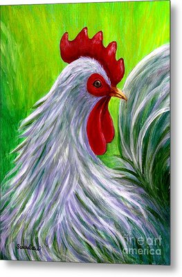 Metal Print featuring the painting Splashy Rooster by Sandra Estes