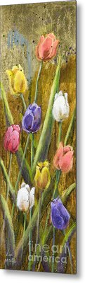 Splashy Tulips II With Gold Leaf By Vic Mastis Metal Print by Vic  Mastis