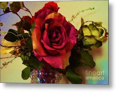 Splendid Painted Rose Metal Print