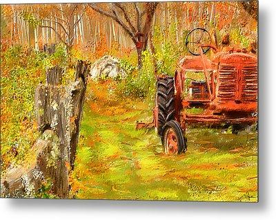 Splendor Of The Past - Red Tractor Art Metal Print