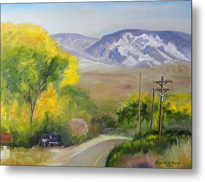 Metal Print featuring the painting Split Mountain On Golf Course Road by Sherril Porter