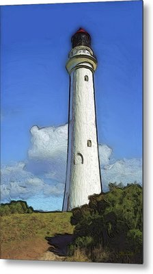 Split Point Lighthouse Metal Print