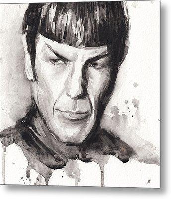 Spock Portrait Watercolor Star Trek Fan Art Metal Print by Olga Shvartsur