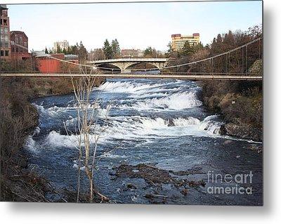 Spokane Falls In Winter Metal Print by Carol Groenen