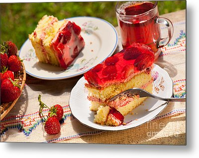 Yellow Jaffa Cake With Strawberries And Juice  Metal Print by Arletta Cwalina