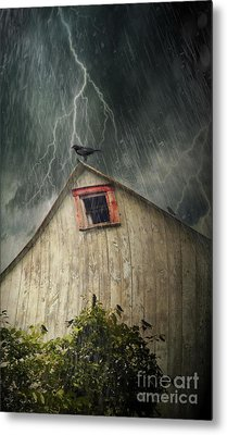 Spooky Old Barn With Crows On A Stormy Night Metal Print by Sandra Cunningham