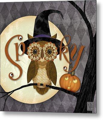 Spooky Owl Metal Print by Valerie Drake Lesiak