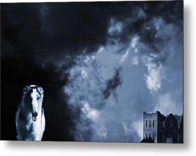 Spooky Wolflike Borzoi Hound And Old Castle Metal Print by Christian Lagereek