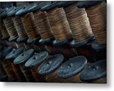 Metal Print featuring the photograph Spools In A Row by Nadalyn Larsen