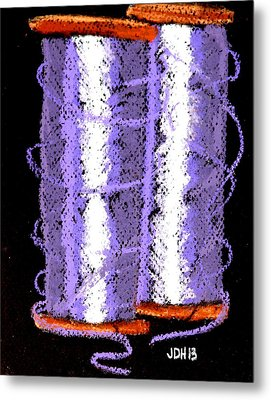 Metal Print featuring the drawing Spools Of Thread Purple 1 by Joseph Hawkins