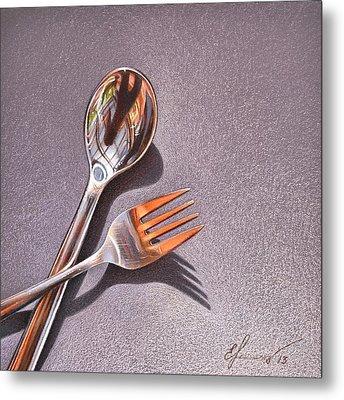 Spoon And Fork 1 Metal Print by Elena Kolotusha