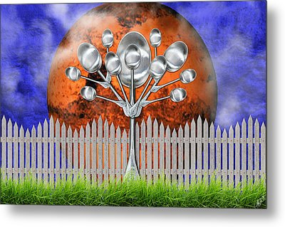 Metal Print featuring the mixed media Spoon Tree by Ally  White