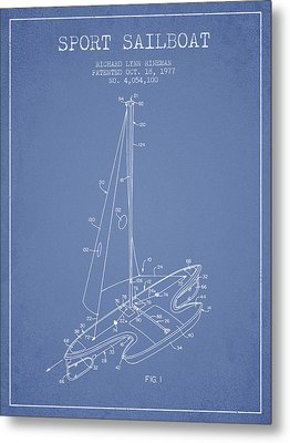 Sport Sailboat Patent From 1977 - Light Blue Metal Print by Aged Pixel