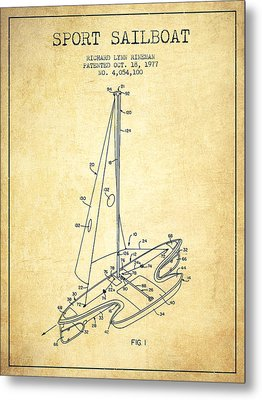 Sport Sailboat Patent From 1977 - Vintage Metal Print by Aged Pixel