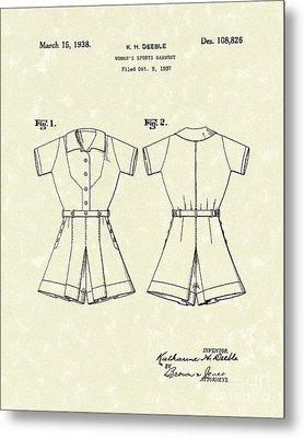 Sports Garment 1938 Patent Art Metal Print