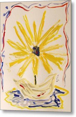 Spotlight On Yellow Metal Print by Mary Carol Williams