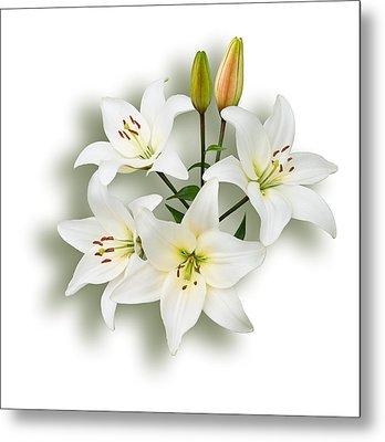 Spray Of White Lilies Metal Print by Jane McIlroy