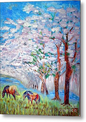 Spring And Horses 2 Metal Print by Vicky Tarcau