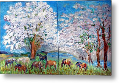 Spring And Horses Metal Print by Vicky Tarcau