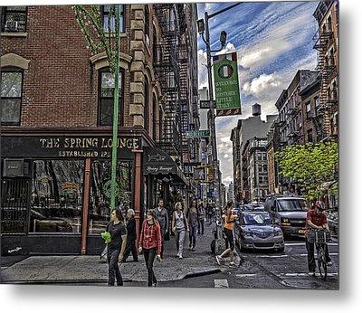 Spring And Mulberry - Street Scene - Nyc Metal Print