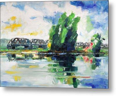Spring At River Elbe Near Doemitz Germany Metal Print by Barbara Pommerenke
