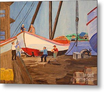 Spring At The Harbor - Tysver's Wharf 1935 Metal Print