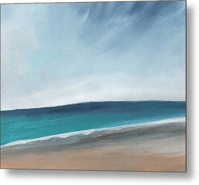Spring Beach- Contemporary Abstract Landscape Metal Print by Linda Woods