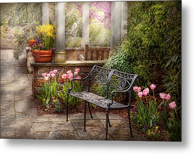 Spring - Bench - A Place To Retire  Metal Print by Mike Savad